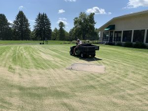 Dragging sand on putting green during aerifying process.